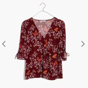 Tie-Sleeve Wrap Top in Butterfly Sanctuary